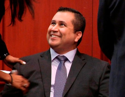 In this file image from video, George Zimmerman smiles after a not guilty verdict was handed down in his trial at the Seminole County Courthouse, Sunday, July 14, 2013, in Sanford, Fla.